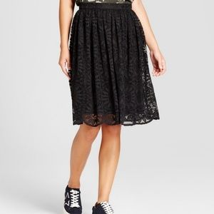 NWT High Waisted Black Lace Midi Skirt
